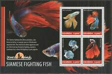 UG012 UGANDA SALE SIAMESE FIGHTING FISH FAUNA DOMESTIC ANIMALS #3275-3278 MNH