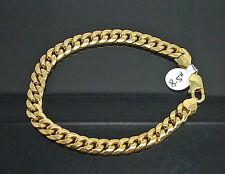 "Men's REAL 10K Yellow Gold Miami Cuban Link Bracelet 7 mm 8"" Inch, Rope Franco N"