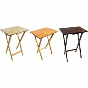 Folding Snack Table Wooden TV Side Laptop Coffee Tea Picnic New