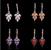 1 Pair Fashion Women Lady Gold Cubic Zirconia Drop Dangle Hoop Earrings Jewelry
