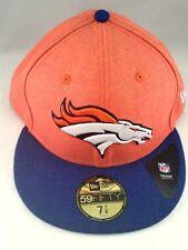 Denver Broncos NFL New Era 59FIFTY 5950 Fitted Hat Size 7 7/8 Orange and Blue