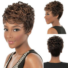 Cool Women's Curly Wave Human Hair Wigs Wavy Short Pixie Cut Wig None Lace Wig