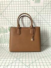 Michael Kors Large Adele Messenger Pebbled Leather Satchel Crossbody Bag Luggage