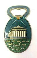 Vintage  Souvenir Greek Parthenon Bronze Enamel Bottle Opener Greece
