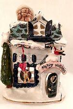 Blue Sky Clayworks Happy Holidays Cottage By Heather Goldminc 2001 Tea Light