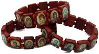 3 pc Wood Bracelet Saints  Stretch Catholic Religious Benedict Brown Christian