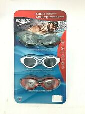 Speedo Adult Swim Goggles | 3 Pack | Adjustable | Latex Free (UV03)