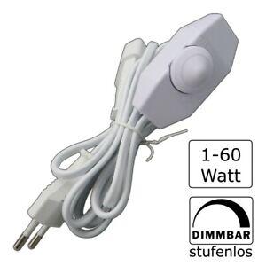 LED Dreh-Dimmer 1- 60W   Drehdimmer Stecker Buchse Schnurdimmer Kabeldimmer weiß
