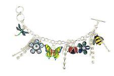 Garden Love Ladybug /Butterfly - Dragonfly - Flower Charm Bracelet
