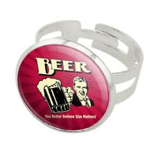 Beer You Better Believe Size Matters Funny Silver Plated Adjustable Novelty Ring