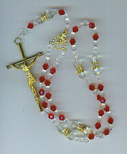 Rosary/Rosario/Austrian/Crystal/silver/RED/ITALY/1468