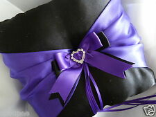 RING BEARER PILLOW BLACK AND PURPLE SATIN PAGE BOY HEART CRYSTALS WEDDING BRIDE