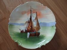 """ANTIQUE LIMOGES OLD ABBEY PLATE HAND PAINTED ARTIST """"DUVAL"""" SHIP BOAT SCENE"""