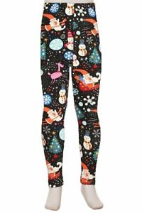 Santa, Frosty the Snowman Christmas Holiday Kids Buttery Soft Leggings L/XL