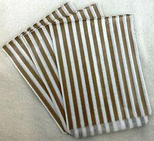"100 X 7"" x 9"" Gold & White Candy Stripe Paper Sweet Bags Retro"