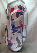 NIKE Brassie II Ladies Golf Cart Bag Pink Grey White Blue Geometric Design Block