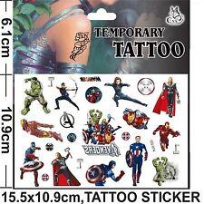 Avengers Cartoon Tatuaggio Temporaneo Corpo per bambini PARTY Borsa Filler, EU Safe EN71