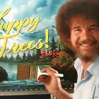 licensed BOB ROSS - HAPPY TREES poster - CAMPY FUN TV ART LESSONS - 34x22 - NEW