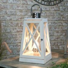 White wash wooden bedside table lamp lantern lighting rustic shabby chic decor