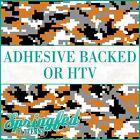 DIGITAL CAMO in Texas Orange, Black, Grey & White Pattern Adhesive Vinyl or HTV