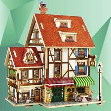WoodCraft Construction Kit 3D Wooden Puzzle  French Cafe House Model Jigsaw Gift