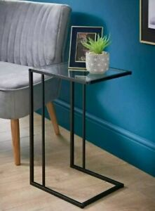 Sofa Side Table Black With Clear Glass Top Coffee End Table for Living Room