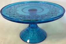 Cake Plate Pastry Tray Bakers Stand - Queen - Mosser USA - Colonial Blue Glass