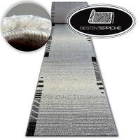 Sehr Dick und Weich Modernen Läufer SHADOW Silber - Streifen Breite 70 - 120 cm