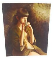 Canvas Oil Painting Original Portrait Beautiful Nude Woman in Robe Signed