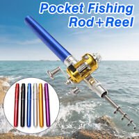 Telescopic Mini Portable Pocket Fish Aluminum Alloy Pen Fishing Rod Pole !  !*