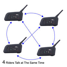 4x V4 Motorcycle Bluetooth Interphone Intercom Headsets+FM For 4 Riders Talking