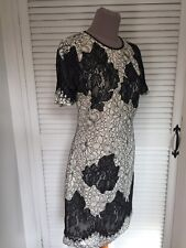 KAREN MILLEN IVORY & BLACK OVERLAY CUTWORK LACE SHIFT DRESS UK 10 NEW TAG