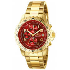 Invicta Men's Watch Specialty Chrono Date Red Dial Yellow Gold Bracelet 6400