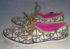 Keds Women's shoes size 10 tan with blue rope knots EUC