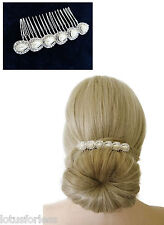 Oval Pearl Crystal Wire Hair Comb Slide Hair Jewellery Bridal Prom Veil Piece