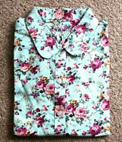 Turquoise Flower print long sleeve shirt/Blouse Unisex (Vintage Collar)