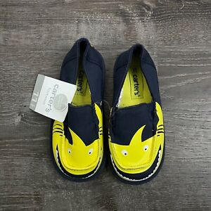 New Carter's Baby Boys Shoes Slip On Navy Blue Shark Causal Size 11 Toddler