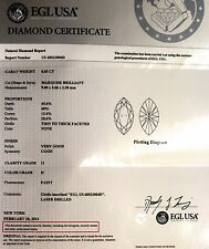 EGL loose certified marquise diamond .83ct I1 H 9.00X5.66x2.58mm vintage estate