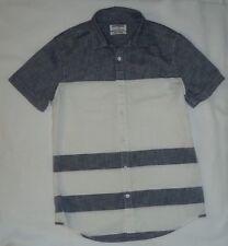 Men's Express White & Gray Striped Button Down Short Sleeve Shirt S/P
