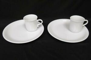 Lot of 2 Porcelain Snack Plate And Cup Sets White Circular Modern Minimalistic