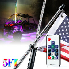 Offroad 5 Feet RGB LED Lighted Whip Antenna with Flag for UTV ATV Truck 4WD Jeep