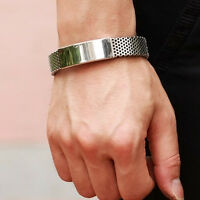 Mens Fashion Silver Stainless Steel Black Leather Cuff Bangle Bracelet-Wristband