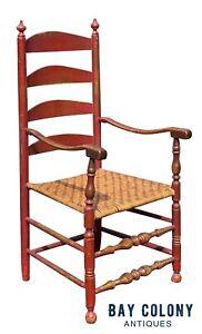 18TH C ANTIQUE QUEEN ANNE NEW ENGLAND LADDER BACK ARM CHAIR W/ SPLINT SEAT