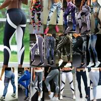 Women PUSH UP Yoga Pants Leggings Fitness High Waist Sports Gym Jogging Trousers