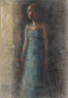 SUNLIT DRESS Female Figure INTERIOR Drawing Impressionist Pastel Daily Painting