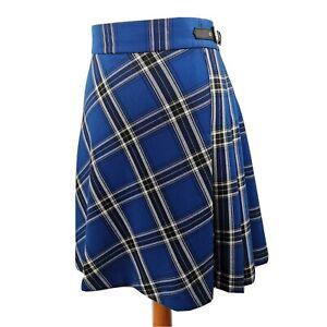 M&S Size 20L Blue Black Tartan Check Pleated Short Buckle Skirt Winter Long Tall