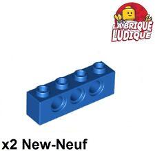 Lego Technic - 2x Brique Brick 1x4 hole bleu/blue 3701 NEUF