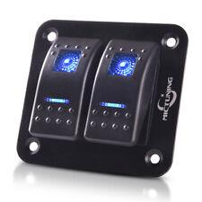 Universal 12V 2-Gang 5Pin Rocker Switch Panel Blue LED for Jeep Car Truck Boat