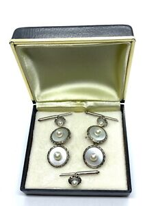 Antique Sterling Silver Mother of Pearl & Pearl Cufflinks Shirt Stud Button Set