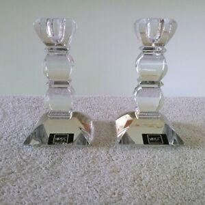 Mikasa Stature Pillar Lead Crystal Candleholders Pair (2) Clear Expose